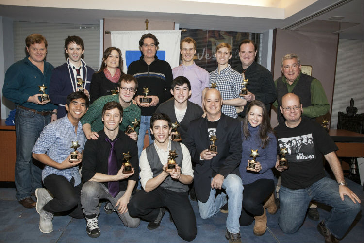 The chorus of Newsies with their ACCA Awards