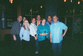 Presentation of the 2007 Phoenix-Tucson Liaison Committee Theatre Service Award: (L to R) Phoenix-Tucson Liaison Committee Members Mike Lawler, Liora Danine, Karyn Lynn Dale, Erica McKibben Black, David Coffman, Award Honoree Shelley Cohn, Charles St. Clair, Tony Hodges