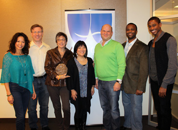 CINDERELLA. Left to Right: Kristine Bendul (cast), Ira Mont (Production Stage Manager), Robyn Goodman (Producer, with award), Ann Harada (cast), Stephen Kocis (Producer), Phumzile Sojola (cast), Robert Hartwell (cast).