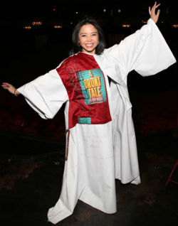 Catherine Ricafort receives the Gypsy Robe for Miss Saigon.
