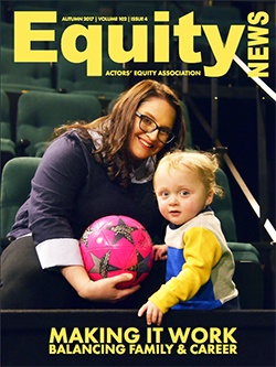 Equity News Autumn 2017 Cover: Stage Manager Amanda Spooner is pictured in the seats of the Mitzi Newhouse Theatre handing a pink soccer ball to her son Jack