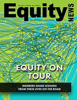 Cover of Fall 2019 Equity News features a map of the US covered in lines representing tour routes of Equity tours in the 2018-2019 season