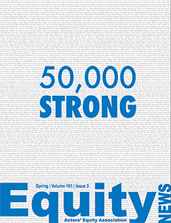 The cover of Equity News features a long list of member names in black with 50,000 Strong superimposed in blue