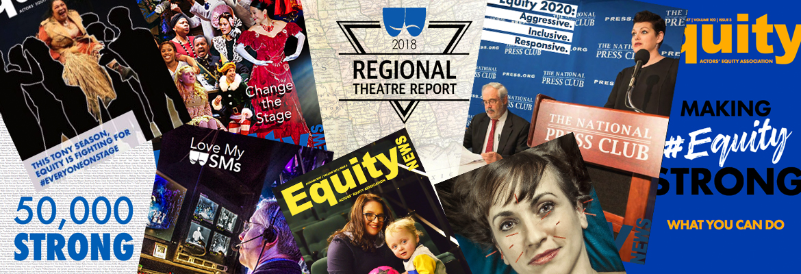 A collage of Equity News Magazine covers