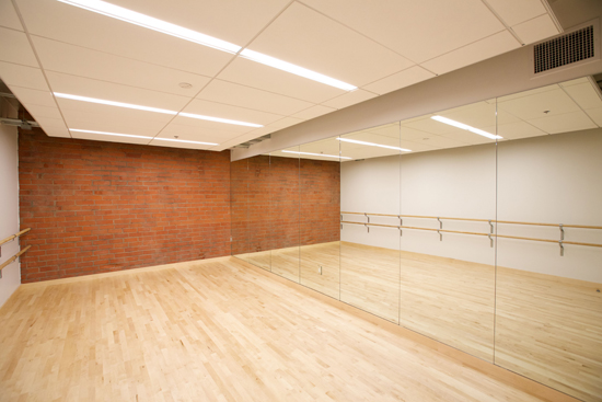 A warm-up room featuring a wood floor and one wall covered in mirrors facing a wall with ballet barre
