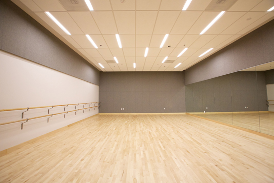 A bright, open room with a mirror covering one wall facing another wall with ballet barre