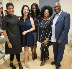 Nicole Smart (center) with (l-r) Lydia Diamond, Christine  Toy Johnson, E. Faye Butler and Ron Himes.